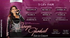 Shreya Ghoshal, USA 9 city tour concerts and information