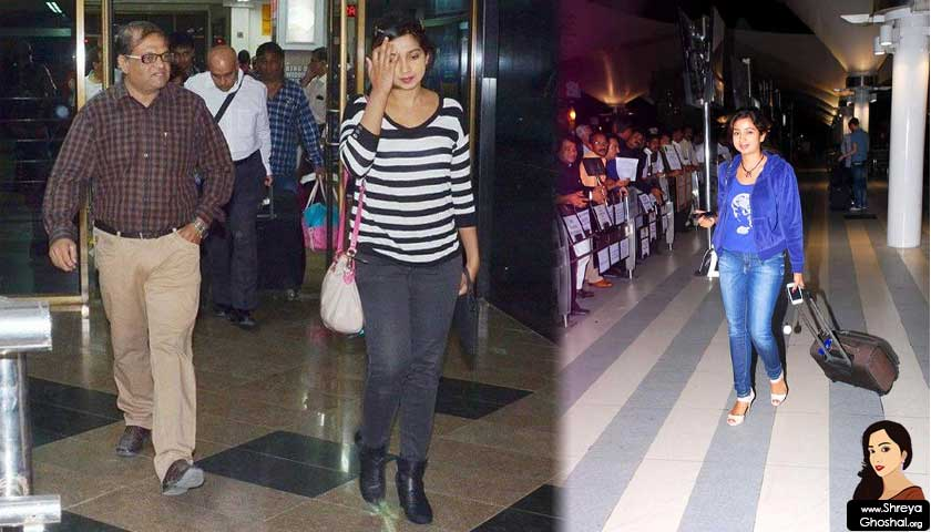 shreya ghoshal at airport