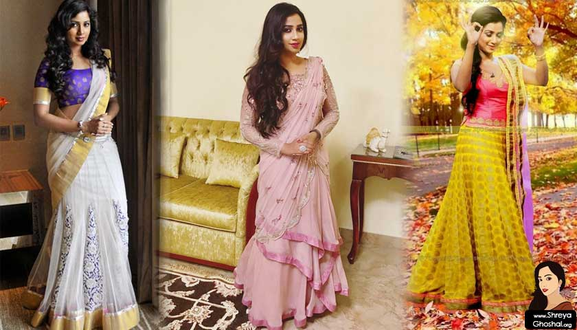 Shreya Ghoshal is in a nice sari