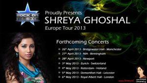 Shreya Ghoshal UK & Europe Tour 2013