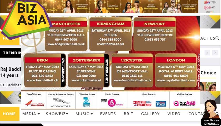Shreya Ghoshal UK 2013 tour dates