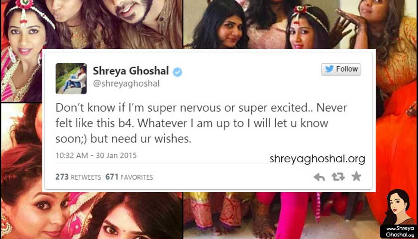 shreya ghoshal marriage twit
